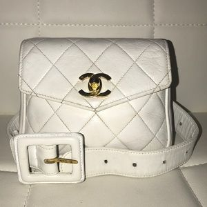 Authentic CHANEL Lambskin Quilted Belt Waist Bag